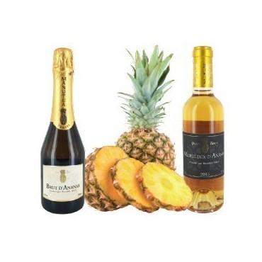 Wine of Tahiti Box : Pineapple Brut, Sweet pineapple Wine - Manutea