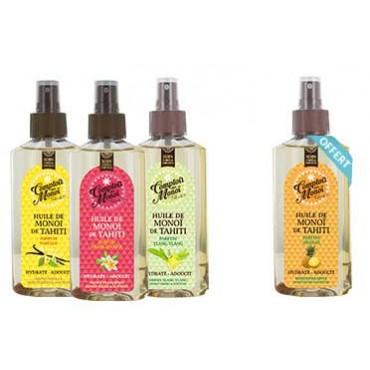 3 Huiles de Monoï Parfumées achetées, 1 quatrième offerte ! Vanille, Frangipanier, Ylang ylang, Ananas.